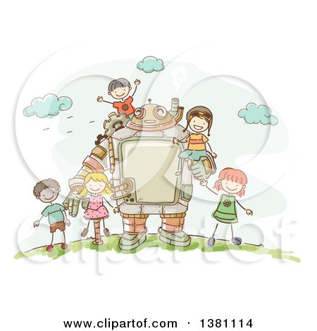 Clipart of a Sketched Steampunk Robot and Stick Children Outdoors - Royalty Free Vector Illustration by BNP Design Studio