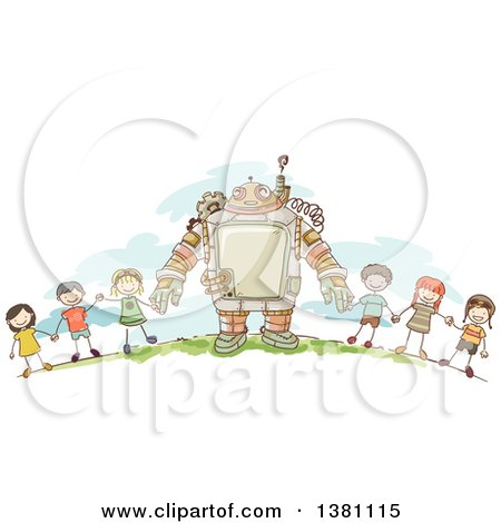 Clipart of a Sketched Steampunk Robot and Stick Children Holding Hands Outside - Royalty Free Vector Illustration by BNP Design Studio
