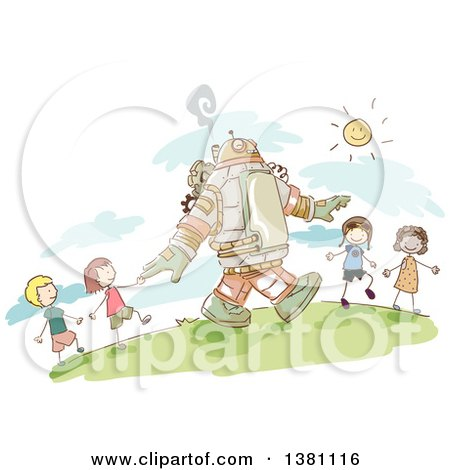 Clipart of a Sketched Steampunk Robot and Stick Children Walking Outside - Royalty Free Vector Illustration by BNP Design Studio