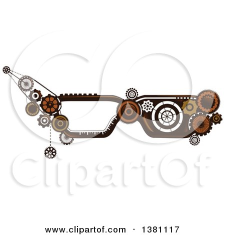 Clipart of Steampunk Glasses Frames with Gears - Royalty Free Vector Illustration by BNP Design Studio