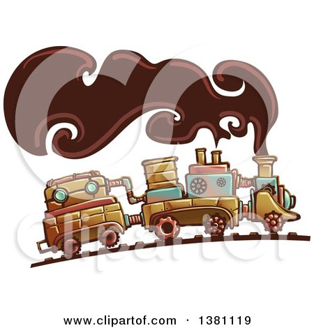 Clipart Of A Steampunk Train With Smoke Royalty Free Vector Illustration