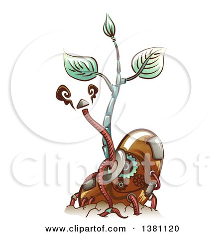 Clipart of a Steampunk Sprouting Bean Seedling Plant with Metal Cables - Royalty Free Vector Illustration by BNP Design Studio