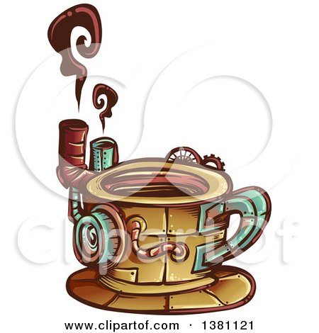 Clipart of a Steampunk Coffee Cup with Steam - Royalty Free Vector Illustration by BNP Design Studio