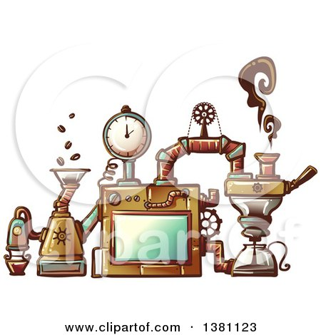 Clipart of a Steampunk Coffee Maker Invention - Royalty Free Vector Illustration by BNP Design Studio