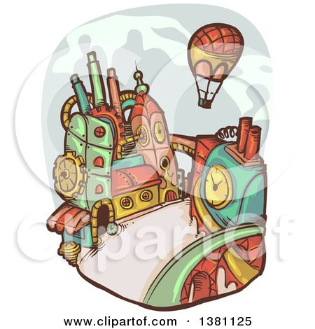 Clipart of a Hot Air Balloon over a Steampunk City - Royalty Free Vector Illustration by BNP Design Studio
