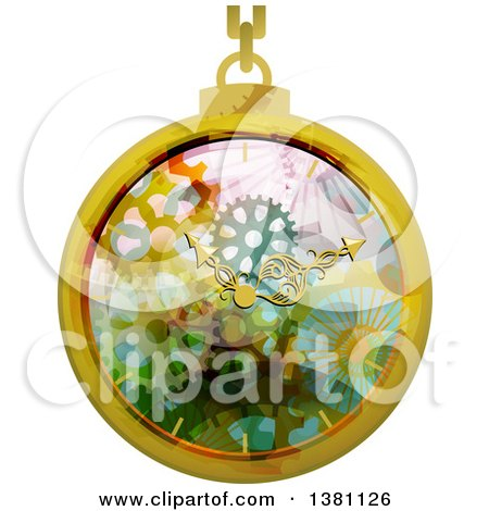 Clipart of a Steampunk Pocket Watch - Royalty Free Vector Illustration by BNP Design Studio