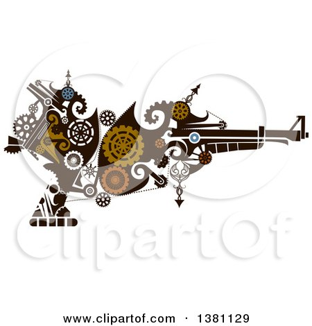 Clipart of a Victorian Steampunk Riffle with Gears - Royalty Free Vector Illustration by BNP Design Studio