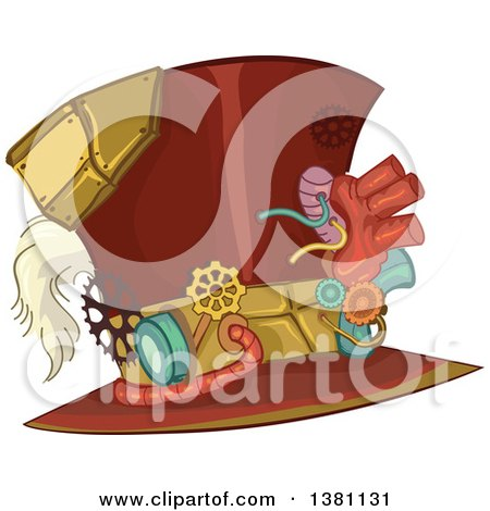 Clipart of a Steampunk Top Hat with Gears - Royalty Free Vector Illustration by BNP Design Studio