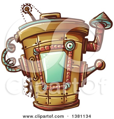 Clipart of a Steampunk Trash Can - Royalty Free Vector Illustration by BNP Design Studio