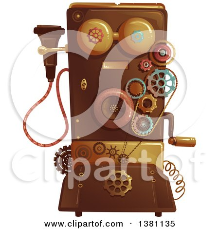 Clipart of a Victorian Steampunk Telephone - Royalty Free Vector Illustration by BNP Design Studio