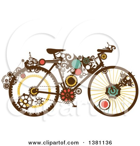 Clipart of a Steampunk Bicycle with Gears - Royalty Free Vector Illustration by BNP Design Studio