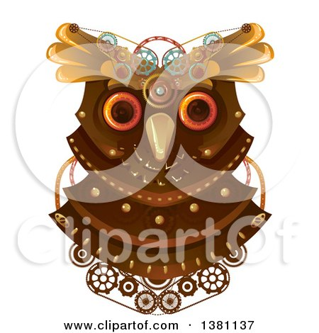 Clipart of a Steampunk Owl Head with Gears - Royalty Free Vector Illustration by BNP Design Studio