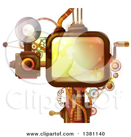 Clipart of a Steampunk Screen with a Crank Handle, Camera and Gears - Royalty Free Vector Illustration by BNP Design Studio