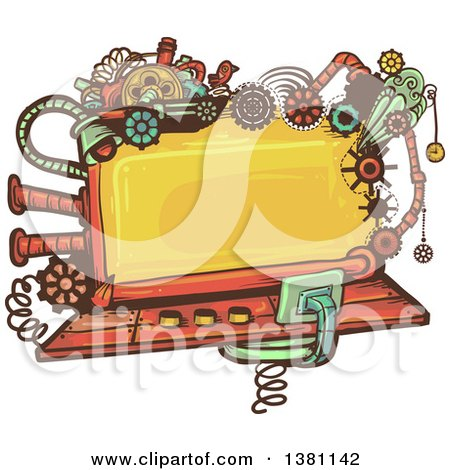 Clipart of a Steampunk Screen with Gears, Lights, Pipes, Springs and a Bird - Royalty Free Vector Illustration by BNP Design Studio