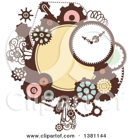 Clipart of a Steampunk Frame with a Clock and Gears - Royalty Free Vector Illustration by BNP Design Studio
