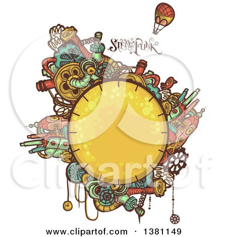 Clipart of a Round Steampunk Planet with Cities, Text and a Hot Air Balloon - Royalty Free Vector Illustration by BNP Design Studio