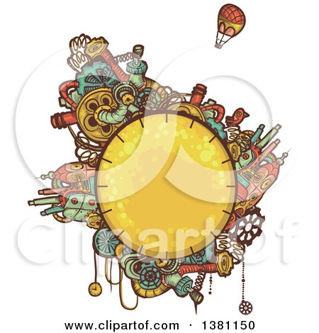 Clipart of a Round Steampunk Planet with Cities and a Hot Air Balloon - Royalty Free Vector Illustration by BNP Design Studio