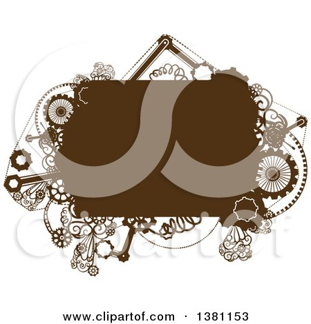 Clipart of a Brown Steampunk Frame with Gears - Royalty Free Vector Illustration by BNP Design Studio