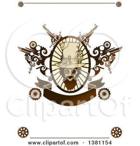Clipart of a Bearded Steampunk Man in an Oval Frame with ...