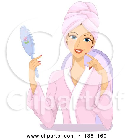 Clipart of a Happy Caucasian Woman Holding a Mirror and Wearing a Spa Robe - Royalty Free Vector Illustration by BNP Design Studio