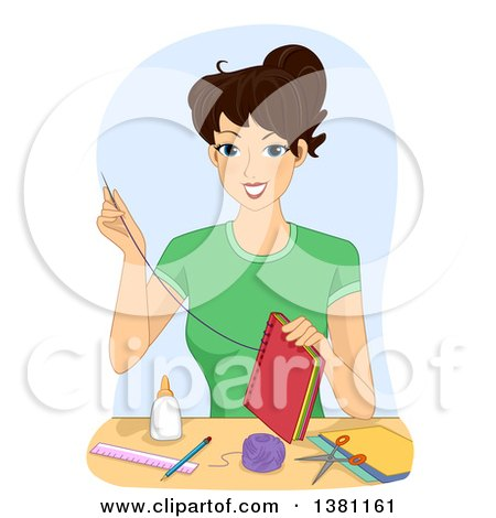 Clipart of a Happy Brunette White Woman Making a Book - Royalty Free Vector Illustration by BNP Design Studio