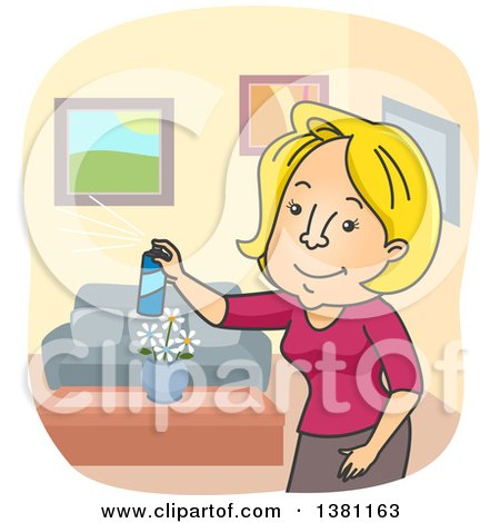 Clipart of a Cartoon Blond Caucasian Woman Spraying Room Air Freshener - Royalty Free Vector Illustration by BNP Design Studio