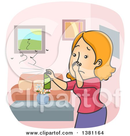 Clipart of a Cartoon Red Haired Caucasian Woman Plugging Her Nose and Spraying Insecticide to Kill Bugs in Her Home - Royalty Free Vector Illustration by BNP Design Studio