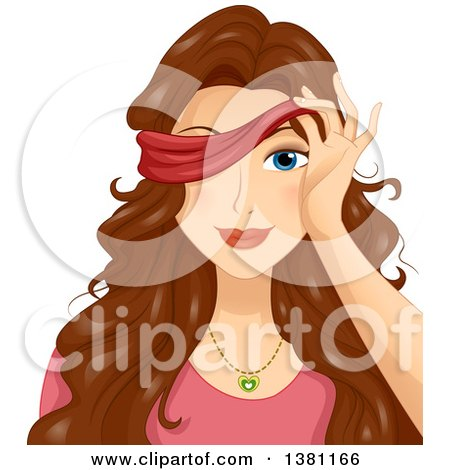 Clipart of a Brunette White Woman Peeking Through a Blindfold - Royalty Free Vector Illustration by BNP Design Studio