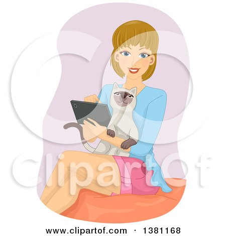 Clipart of a Happy Dirty Blond Caucasian Woman Using a Tablet with Her Cat in Her Lap - Royalty Free Vector Illustration by BNP Design Studio