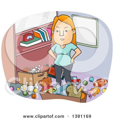 Clipart of a Cartoon Angry Red Haired White Woman Standing in a Messy Room - Royalty Free Vector Illustration by BNP Design Studio