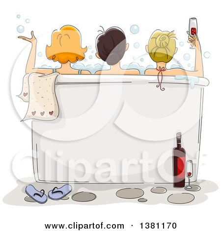 Clipart of a Sketched Rear View of Three Ladies Enjoying a Bath with Wine at a Spa, Text Space on the Tub - Royalty Free Vector Illustration by BNP Design Studio