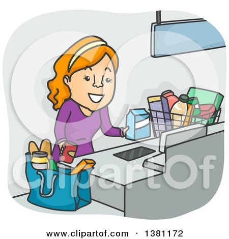 Clipart of a Cartoon Red Haired White Woman Using a Self Checkout at a Grocery Store - Royalty Free Vector Illustration by BNP Design Studio