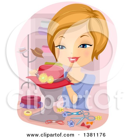 Clipart of a Happy Blond Caucasian Woman Decorating a Hat on a Mannequin - Royalty Free Vector Illustration by BNP Design Studio