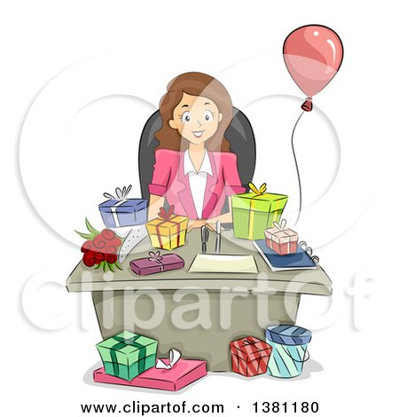 Clipart of a Cartoon Happy Brunette Caucasian Business Woman with Birthday Gifts on Her Desk - Royalty Free Vector Illustration by BNP Design Studio