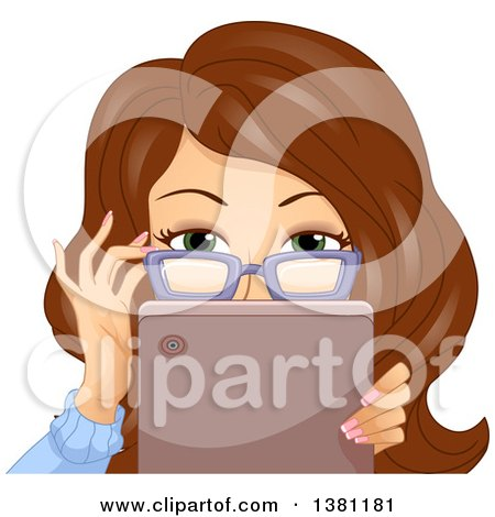 Clipart of a Brunette Caucasian Woman Adjusting Her Glasses and Looking over a Tablet - Royalty Free Vector Illustration by BNP Design Studio