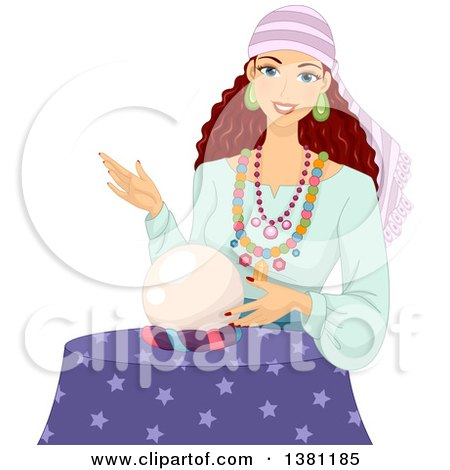 Clipart of a Brunette White Gypsy Woman Touching a Crystal Ball - Royalty Free Vector Illustration by BNP Design Studio