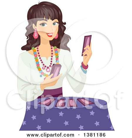 Clipart of a Happy Gypsy Woman Holding Tarot Cards - Royalty Free Vector Illustration by BNP Design Studio