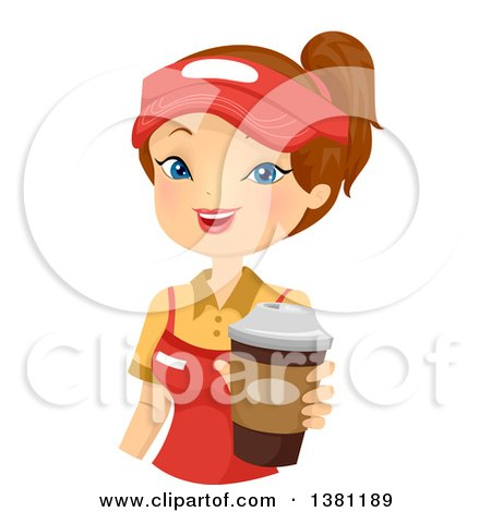 Clipart of a Brunette Caucasian Woman Holding out a Fast Food Coffee - Royalty Free Vector Illustration by BNP Design Studio