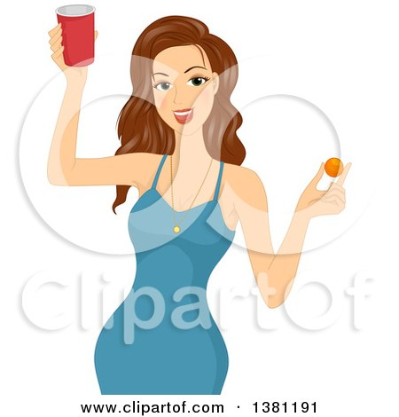 Clipart of a Brunette White Woman in a Blue Dress, Holding a Red Cup of Beer and a Ping Pong Ball - Royalty Free Vector Illustration by BNP Design Studio