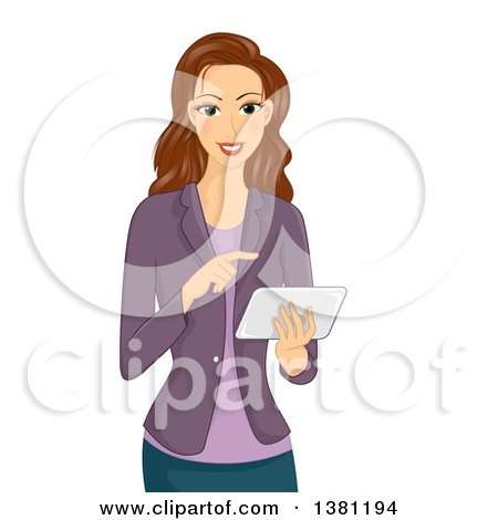 Clipart of a Happy Brunette Caucasian Woman Using a Tablet Computer - Royalty Free Vector Illustration by BNP Design Studio