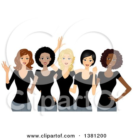 Clipart of a Group of Happy Diverse Women Wearing Matching Black T Shirts - Royalty Free Vector Illustration by BNP Design Studio