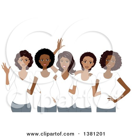 Clipart of a Group of Happy Black Women Wearing Matching White T Shirts - Royalty Free Vector Illustration by BNP Design Studio
