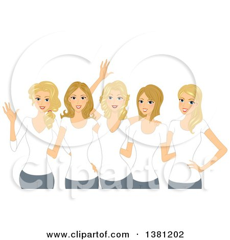 Clipart of a Group of Happy Blond White Women Wearing Matching White T Shirts - Royalty Free Vector Illustration by BNP Design Studio