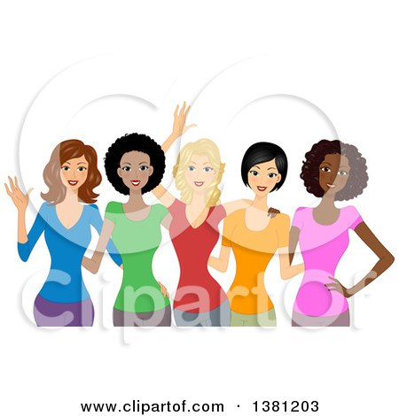 Clipart Of A Group Of Happy Diverse Women Wearing Colorful T Shirts Royalty Free Vector Illustration