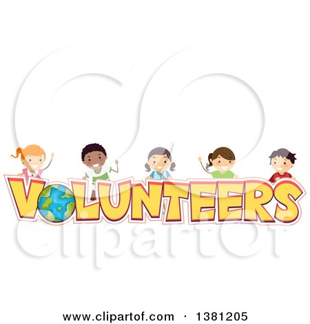 Clipart of a Group of Happy Stick Children over Volunteers Text - Royalty Free Vector Illustration by BNP Design Studio