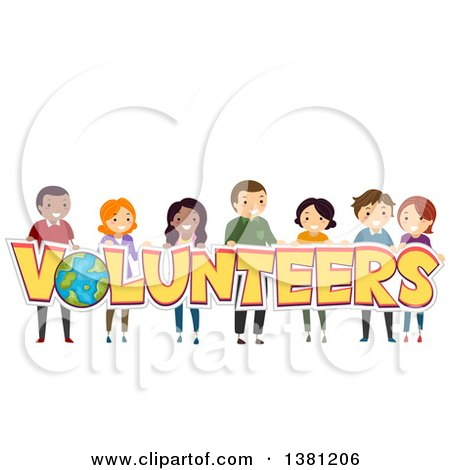 Clipart of a Group of People Holding up Volunteers Text - Royalty Free Vector Illustration by BNP Design Studio