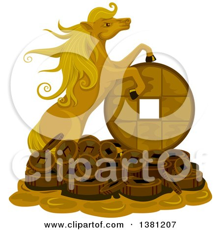Clipart of a Gold Lucky Horse on a Pile of Coins - Royalty Free Vector Illustration by BNP Design Studio