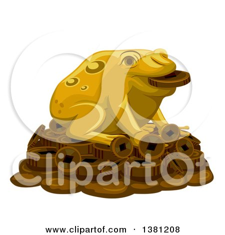 Clipart of a Gold Lucky Frog on a Pile of Coins - Royalty Free Vector Illustration by BNP Design Studio