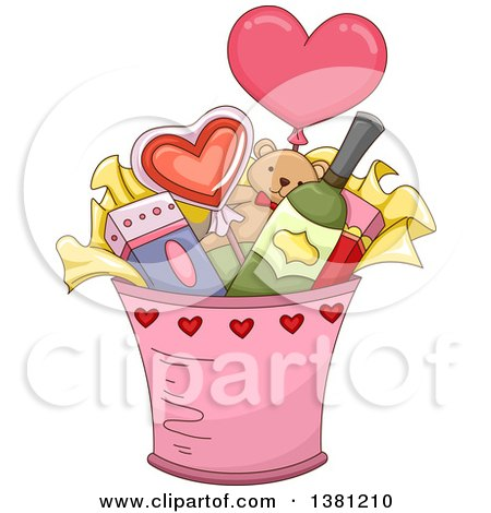 Clipart of a Valentines Day Bucket with Gifts - Royalty Free Vector Illustration by BNP Design Studio