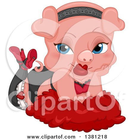 Clipart of a Seductive Female Pig Pinup Posing on Feathers - Royalty Free Vector Illustration by BNP Design Studio